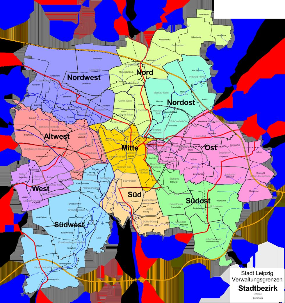 Leipzig Karte Mit Stadtteilen.Die Stadtteile Von Leipzig